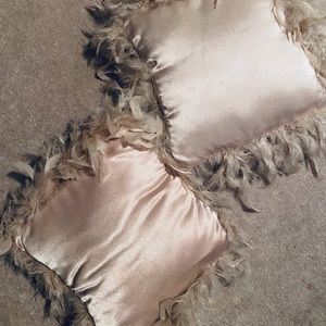 Two Feather Trimmed Pillows